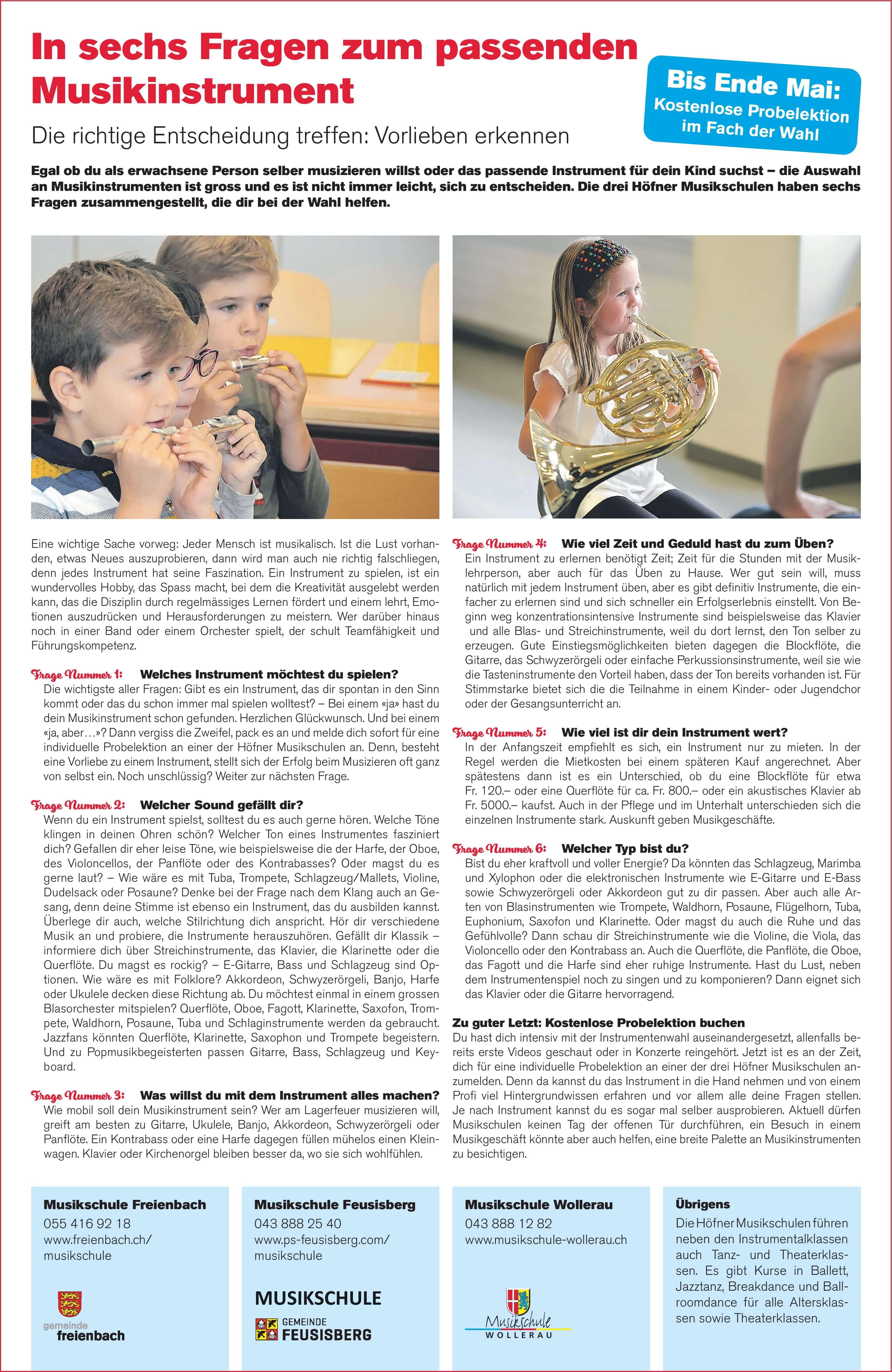 Höfner Inserat, Musikschule Freienbach – richtiger Entscheid